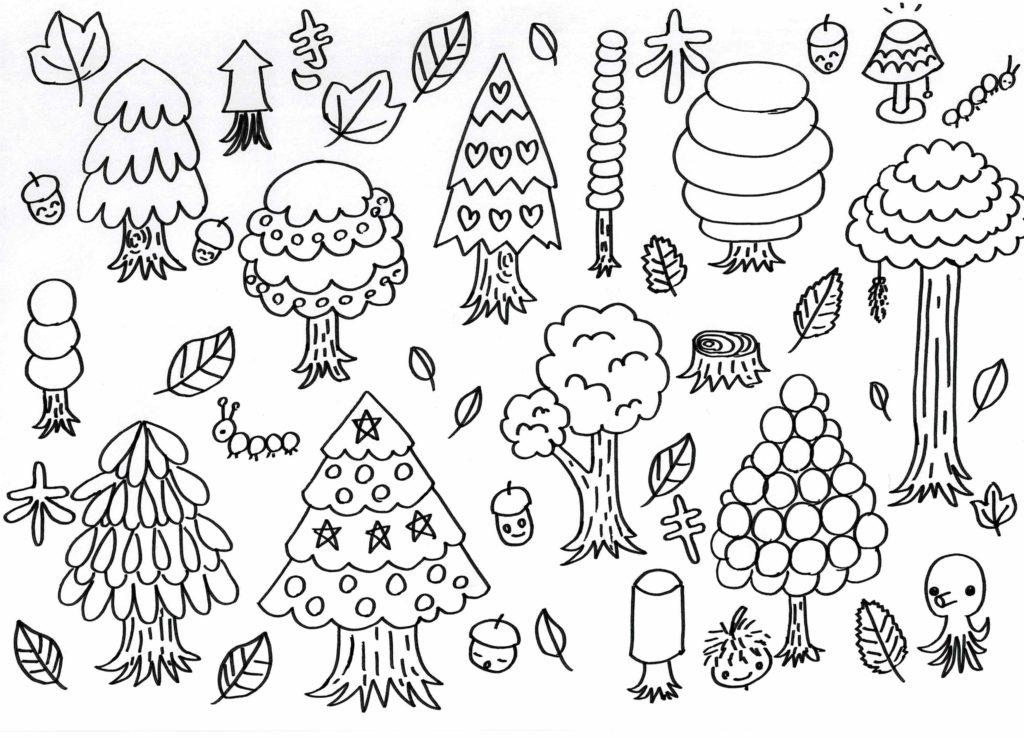 色々な木 無料塗り絵 手書き 森
