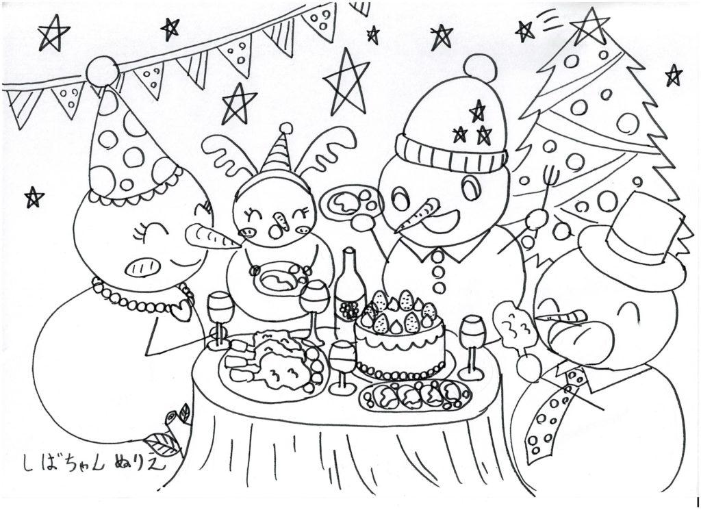 無料ぬりえ 雪だるまたちのクリスマスパーティー Snowmen are enjoying a Christmas party